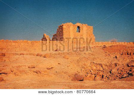 Vintage Image Of A Fort In Desert