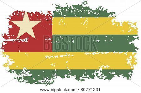 Togo grunge flag. Vector illustration.