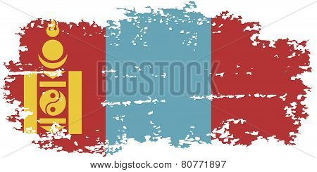 Mongolian grunge flag. Vector illustration.