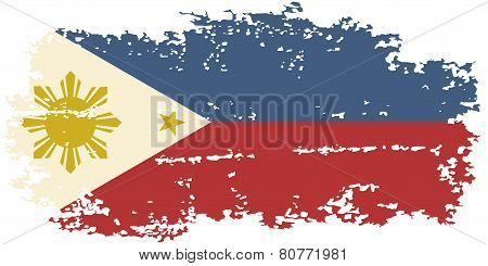 Philippines grunge flag. Vector illustration.