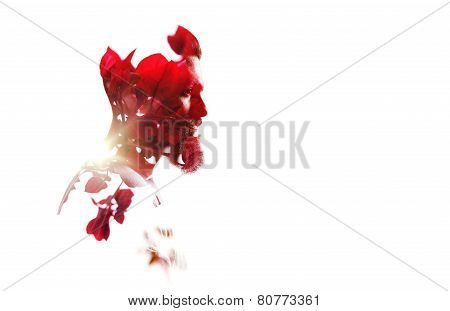 Double Exposure Of Bearded Guy And Red Flowers