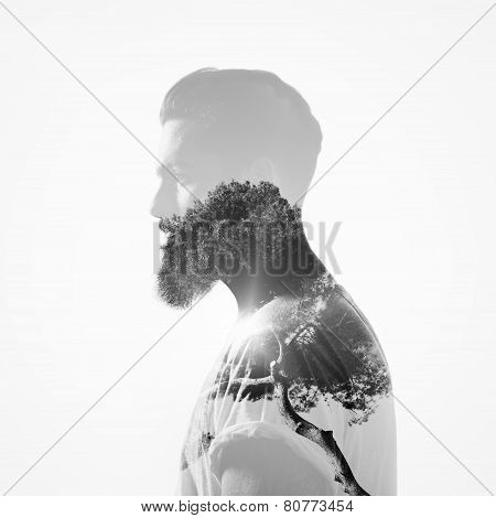 B/w Double Exposure Portrait Of A Bearded Guy And Tree