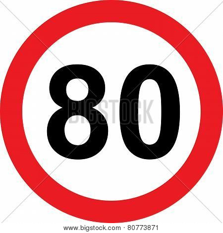 80 Speed Limitation Road Sign