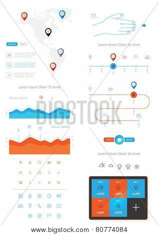 vector elements of infographics and user interface