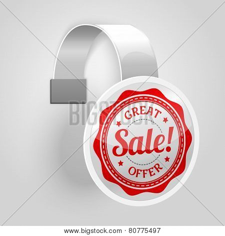 White plastic wobbler with red sale label. Vector
