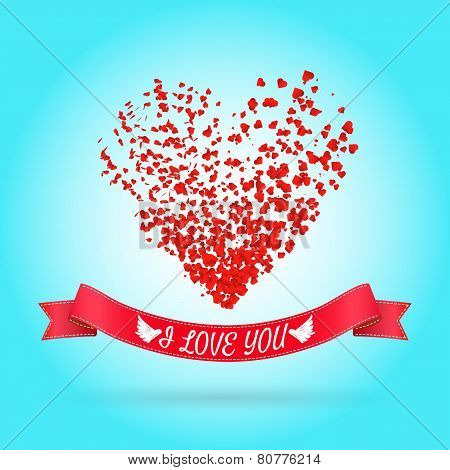 Happy Valentine's day greeting or invitation card with heart of particles. Vector illustration. Can