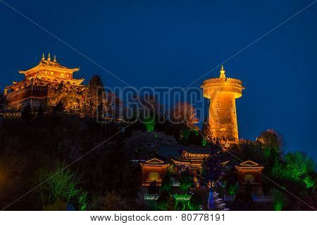 Prayer Wheel In Shangri-la At Night