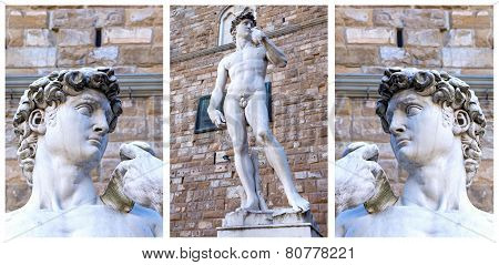 Replica Of The David Sculpture In Florence. Collage.