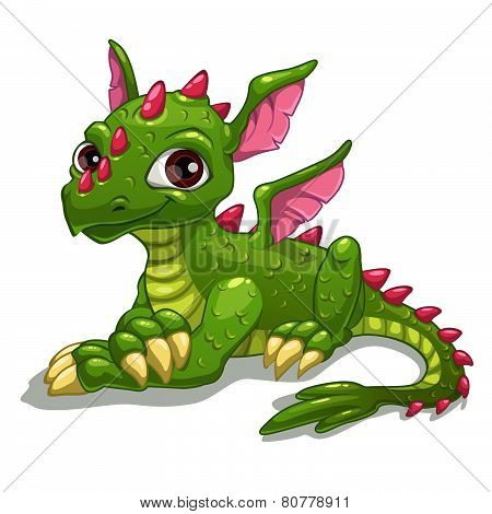 Cute cartoon green dragon