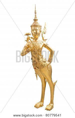 Golden Kinnari At Temple Of The Emerald Buddha