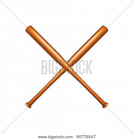 Two crossed baseball bats