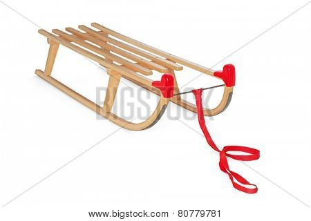 Wooden sledge on white background