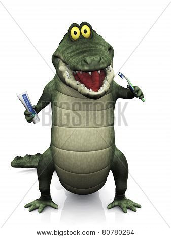 Cartoon Crocodile Brushing His Teeth.