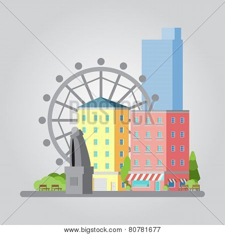 Modern Flat Design Cityscape Illustration