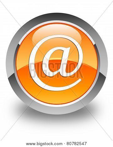 Email Address Icon Glossy Orange Round Button