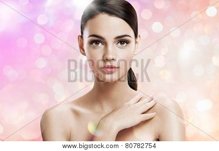 Young woman with professional make-up, skin care concept
