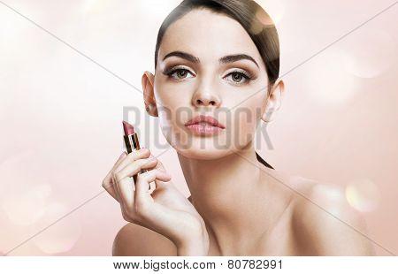 Charming teen girl woman with lipstick