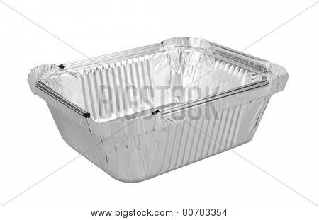foil trays for food isolated on a white background