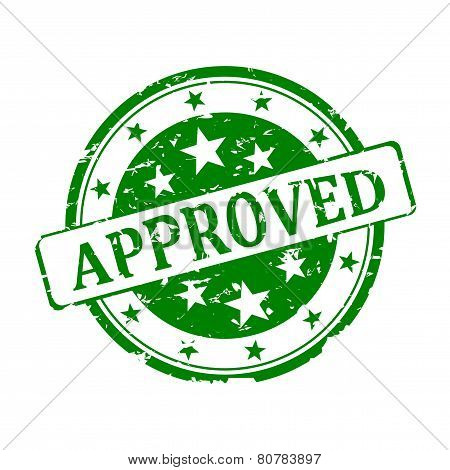 Round Green Stamp Approved