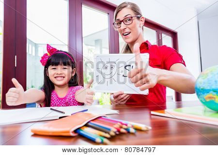 Teacher giving English language lessons to Chinese child