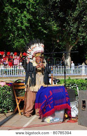 Musician in Plaza de Espana, Seville.