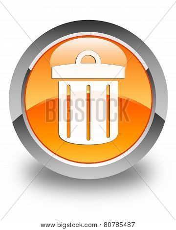Recycle Bin Icon Glossy Orange Round Button