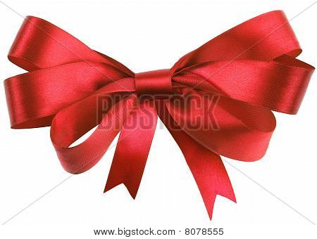 Bow made of red silk ribbon