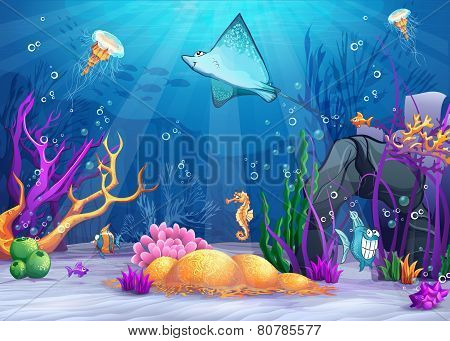 Illustration of the underwater world with a funny fish and fish ramp.