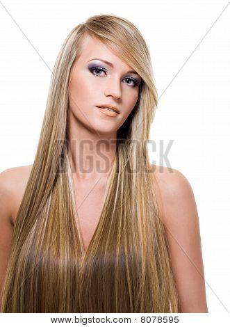 Frau mit langen geraden Haar Schönheit