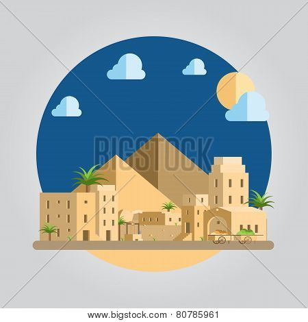Flat Design Desert Village Illustration
