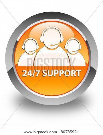 24/7 Support (customer Care Team Icon) Glossy Orange Round Button