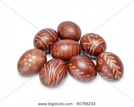 Group of brown scratched easter eggs on white background