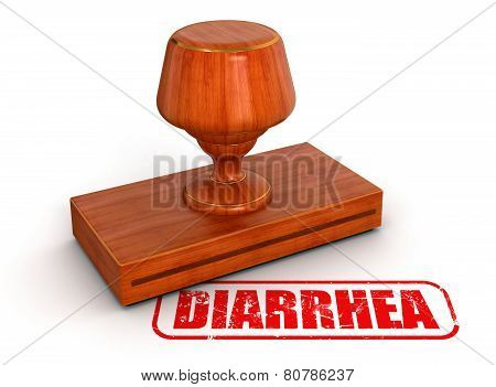 Rubber Stamp diarrhea  (clipping path included)