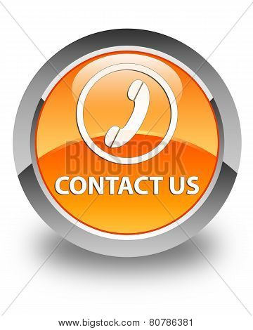 Contact Us (Phone Icon) Glossy Orange Round Button