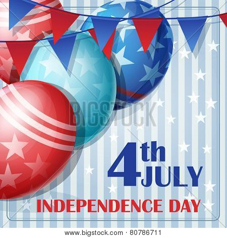 Background to Independence Day on July 4 with flags and balloons.