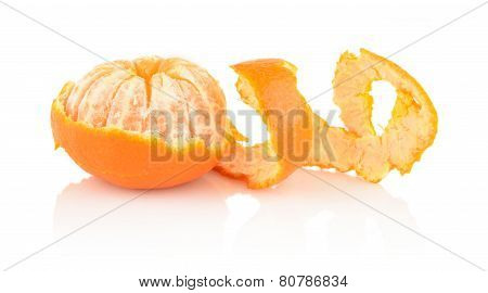 Spiral Peel Of Mandarin Isolated On White