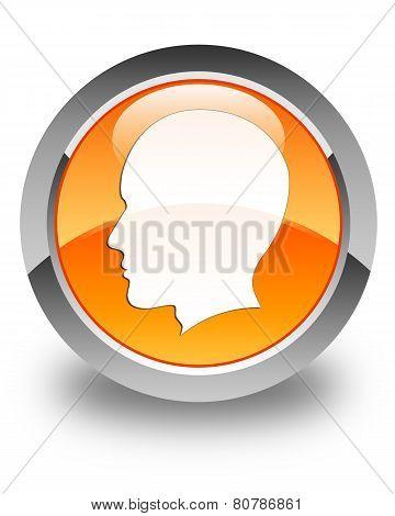Head Icon (man) Glossy Orange Round Button