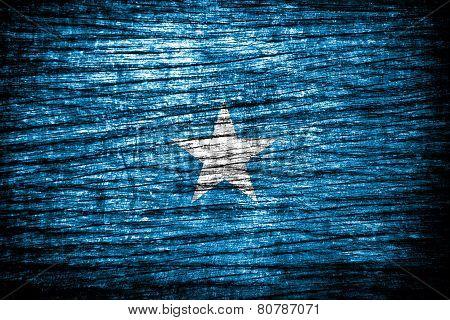 Somalia Flag on old wood background