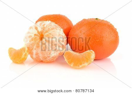 Studio Shot Dewy Peeled Mandarines Isolated On White