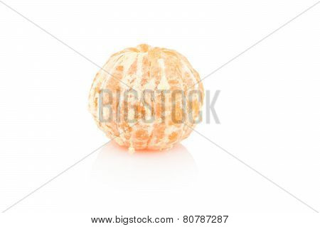 Studio Shot Single Peeled Mandarine Isolated On White
