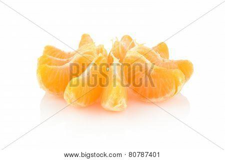 Studio Shot Rosette Of Peeled Mandarine Isolated On White