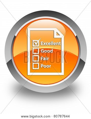 Questionnaire Icon Glossy Orange Round Button