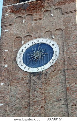 Bell Tower With  Large Clock With Roman Numerals