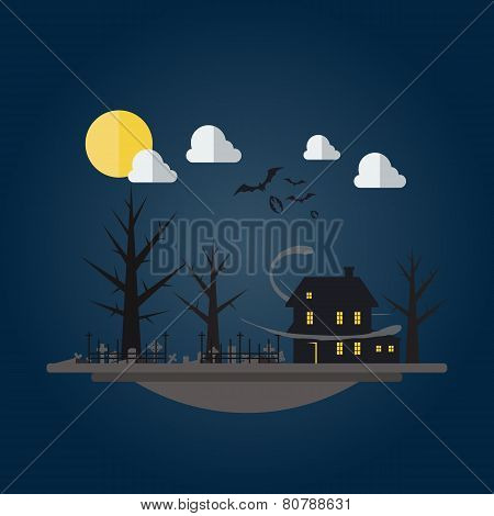 Flat Design Of Spooky House