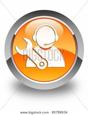 Tech Support Icon Glossy Orange Round Button