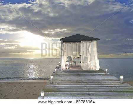 pavilion, beach and sunset