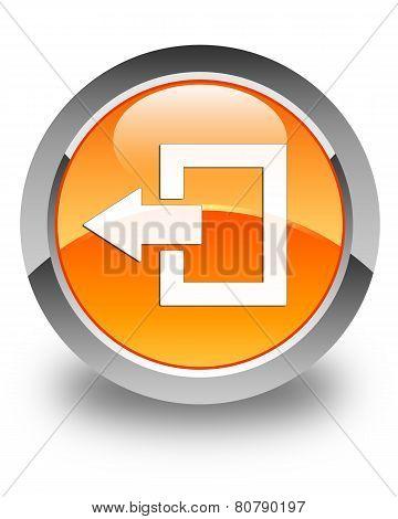 Logout Icon Glossy Orange Round Button