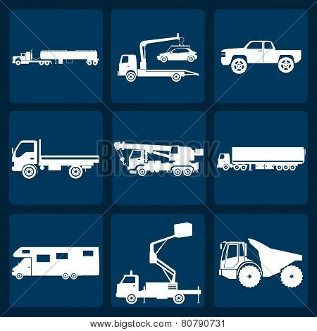 Set Of Nine Icons Of Trucks