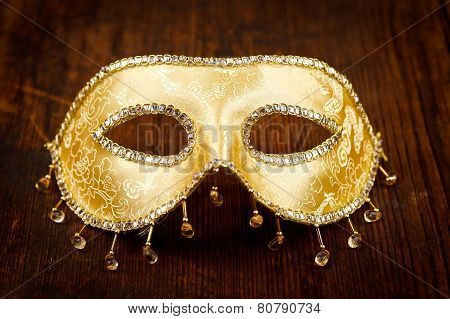 Golden Carnival Mask On The Table