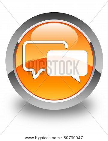 Testimonials Icon Glossy Orange Round Button